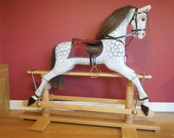 Traditional hand carved wooden Rocking horse