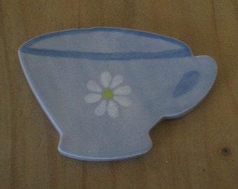 Daisy Homemade Ceramic Teacup Fridge Magnet
