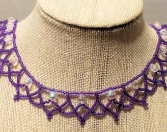 Woven Beaded Necklace Purple
