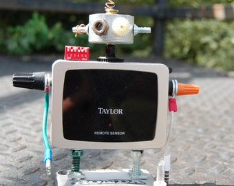 Found object robot, robot art, robot collectible, christmas gift ideas,  robot sculpture, home decor, children's room decor