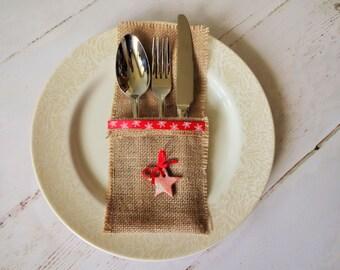 christmas wedding table decor silverware burlap wedding flatware pockets burlap christmas cutlery pockets