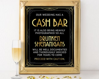 cash bar sign printable files digital download wedding bar decor table sign
