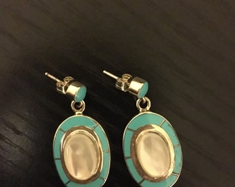 Sterling Silver, White Opal and Turquoise Earrings