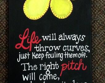 Life will always throw curves softball canvas