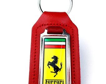 Red Leather Oblong Ferrari Keyring / Keyfob