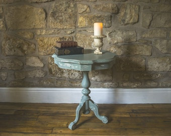 Carved pedestal side/ coffee/ bedside table handpainted