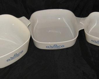 Vintage Set Of 3 Corning Ware Corn Flower Casserole Dishes