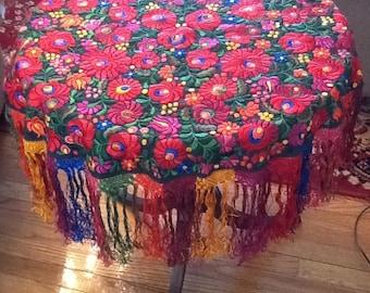 SALE! Hungarian Matyo embroidered tablecloth textile folk art