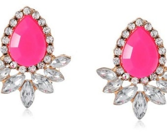 Neon Pink Stone and Crystal Teardrop Earrings