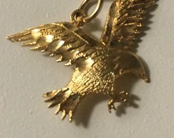 14KT gold American Bald Eagle pendant