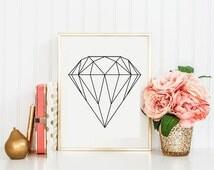 Diamond Printable - Affiche Scandinave - Wall Art - Geometric Print - Home Decor - Printable Poster - Scandinavian - Geometric Decor
