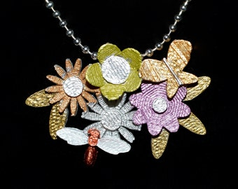 Metallic Flowers Necklace; Flowers Necklace; Bee, Butterfly and Flowers Necklace
