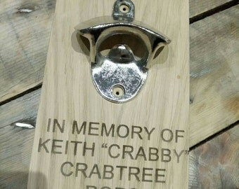 Quirky wooden Bottle opener personalised engraved