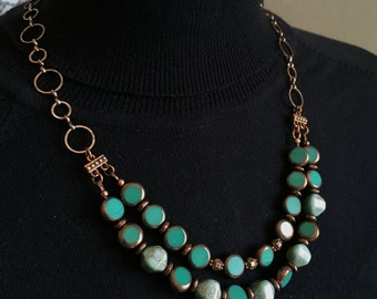 Multi strand Green and Antique Copper Necklace