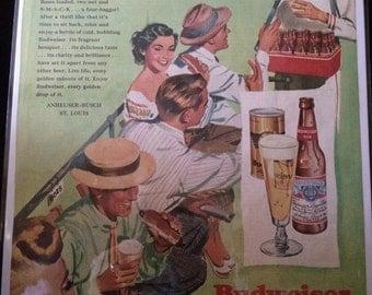 Vintage Ad.  Budweiser. 1950's.