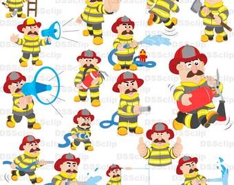 SALE - Limited Time Offer -  Lovely fireman illustration set2 - Buy 2 Get 1 Free!!