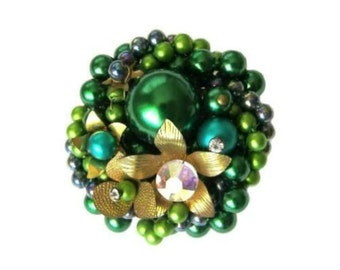 Vintage Green Faux Pearl & Rhinestone Cluster Brooch Pin