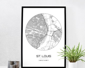St Louis Map Print City Map Art Of St Louis Missouri Poster