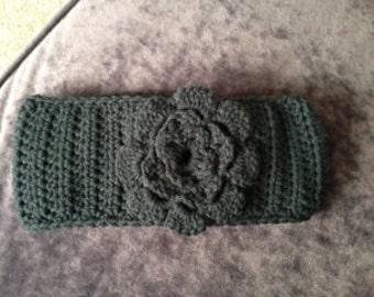 Black Crocheted Women's Ear Warmer Headband