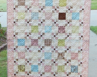 Moda Lily and Will, Pink Quilt, Park Lane, Lap Quilt, Baby Girl Quilt, Toddler Quilt