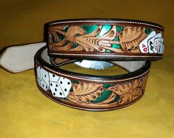 Filigree Hand Carved Leather Belt