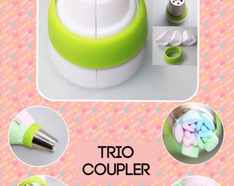 Frosting  coupler trio piping coupler three colour piping rusian frosting coupler for tips  free  shipping    buttercream frosting
