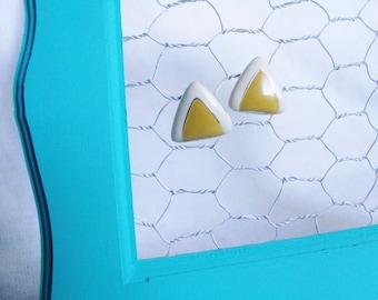 Vintage Mustard Triangular Earrings