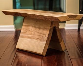 Wood slab bench, Reclaimed ash, emerald ash borer, bookmatched legs