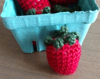 Crocheted strawberries play food