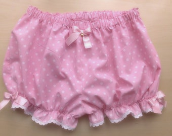 Made to order! Pink and baby blue polka dot bloomers - sweet lolita, kawaii bloomers