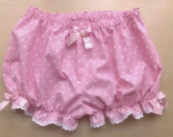 Made to order! Pink and baby blue polka dot bloomers - sweet lolita, kawaii bloomers