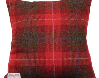 Harris Tweed Wool Cushion Cover Red and Brown Tartan Woven Zip Fastening Size 45x45cm, 17x17inc Home Decorative Cushion