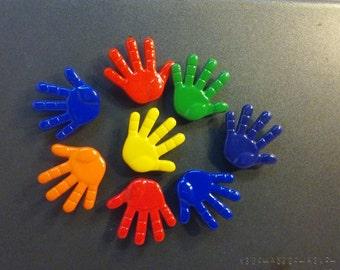8 Brightly Colored Cartoon Like Hand Magnets, Hand Push Pins, Hand Tacks