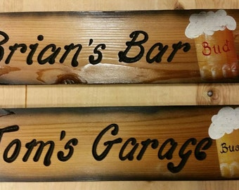 """Custom Dads Sign, Personalized Christmas Gift,  Man Cave Sign, Personalized Wood Signs, Custom Beer Signs,  Made to Order,  6""""×24 inches"""