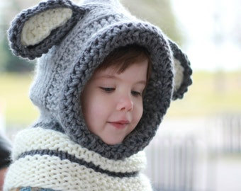 Knitting pattern, Patron tricot – David Dog Hooded  Cowl Hood (12/18 month - Toddler - Child – Teen- Adult sizes)