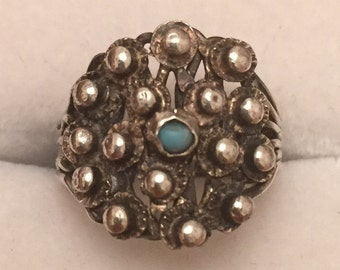 Antique Native American silver & turquoise ring