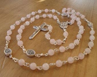 Rose Quartz Rosary, Handmade Rosary, Rosary Beads.