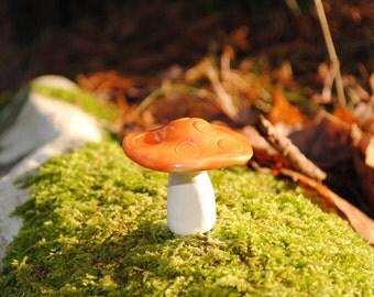 Mini decorative ceramic mushroom