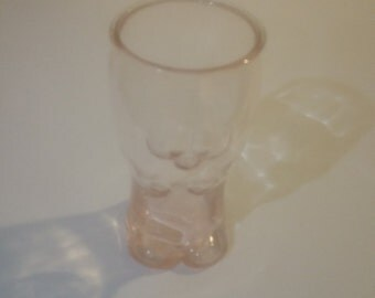 Vintage Pink Frottis Molded Glass Drinking Glass signed