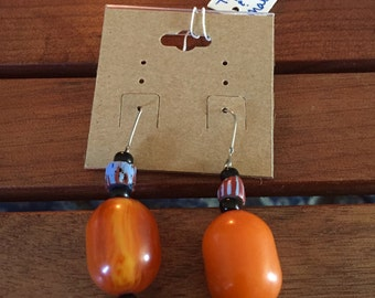 African Trade Bead and Amber Earrings