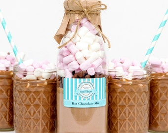 Decadent LARGE Hot Chocolate mix in a bottle Unique Gift idea.  Makes 4 hot chocolate drinks.