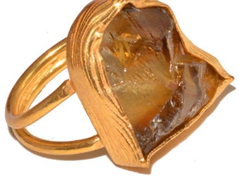 citrin natural rough adjustable ring