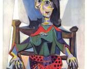PABLO PICASSO 1942 Engraving +COA. La Femme au chat 1941 Picasso  Rare Art Print. Unique Gift Idea. Exclusive Rare Vintage Art Free Shipping
