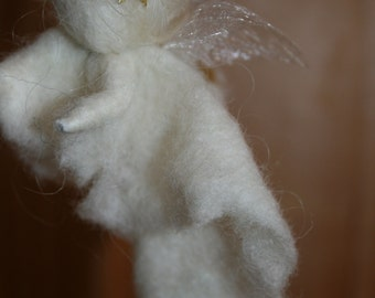 Little Christmas Angel from felted wool with gold stars