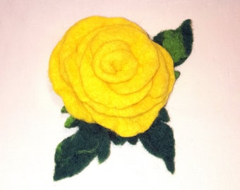 Yellow Rose - Felted Flower/Brooch