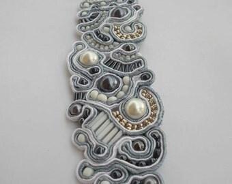 Silver White - Soutache Bracelet, handmade, unique gift