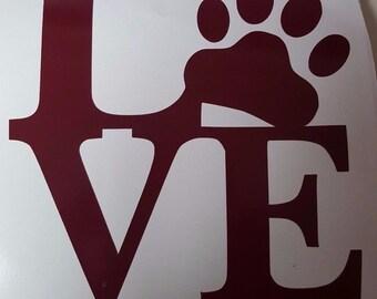 Love Pawprint Vinyl Decal