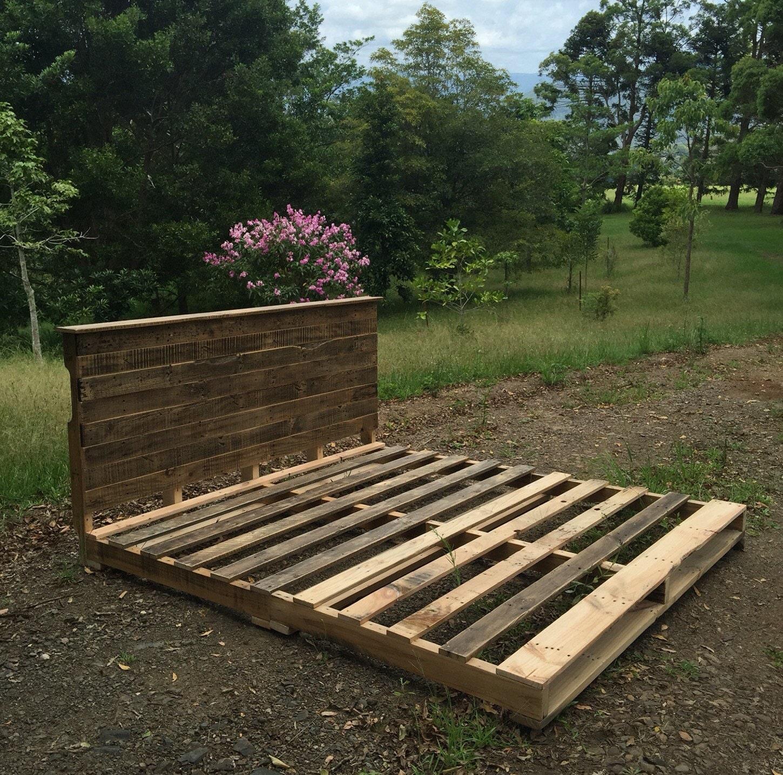Rustic pallet queen bed shipping not included for Queen pellet
