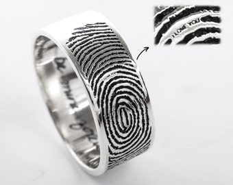 Secret Message Fingerprint and Handwriting Rings- Personalized Fingerprint Rings- Promise Rings - Couple Rings - Wedding Ring