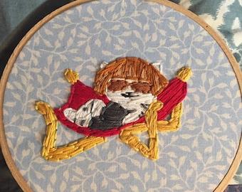Neko Atsume's Lady Meow Meow embroidery
